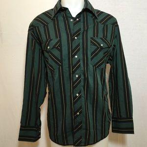 Vintage Green and Black Striped Wrangler